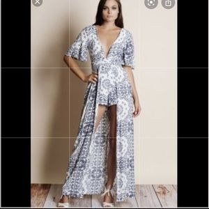 High Low Romper Maxi Dress Boho